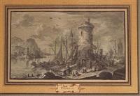 port scene with figures (+ another; 2 works) by gabriel perelle