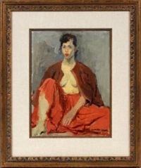 girl in red skirt by raphael soyer