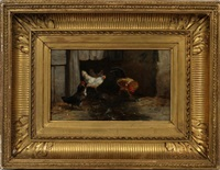 rooster and hens by philibert-leon couturier