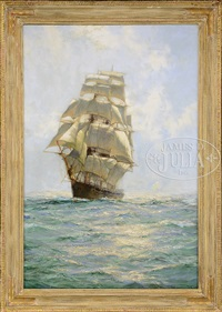 oncoming tall ship by montague dawson