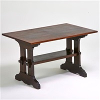 trestle library table by gustav stickley