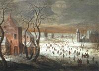 winterliche landschaft mit eislaufern by robert van den hoecke
