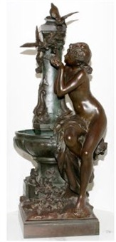 a seated nude figure of a woman, drinking from a fountain by mathurin moreau
