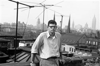 portrait snapshot by w.s. burroughs on ginsberg's apartment roof east 7th street, new york by allen ginsberg