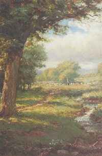 pastoral landscape with a shepherd and his flock by franklin c. courter