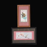 hummingbird nest & hummingbird on branch (2 works) by jade fon