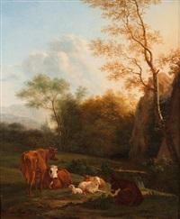 landschaft mit esel, kühen und schafen by karel dujardin