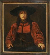 junge damen im roten kleid mit großem hut (after rembrandt) by jürgen ovens