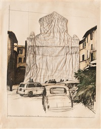 verpackter brunnen, spoleto 1968 by christo and jeanne-claude
