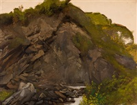felswand mit bergbach (study) by johann rudolf koller