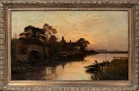 river scene with boat by walter stuart lloyd