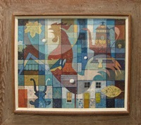 modernist composition with rooster, leaves, coffeepot, buildings by john foster
