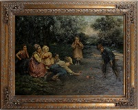 family playing with apples by armstrong