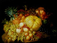a still life with fruit on a stone ledge by augustine vervloet