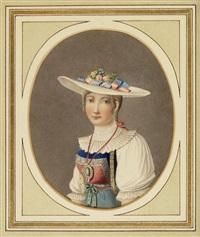 luzerner trachtenmädchen (+ zuger trachtenmädchen in halbfigur; pair) by markus dinkel