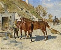 utfodring - hästar vid stallet by wilhelm von gegerfelt and johan arsenius