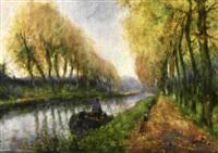 kanallandschaft mit baumallée by constance jacquet