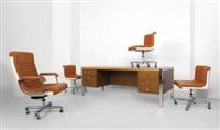 una scrivania, una poltrona dirigenziale e tre poltroncine by ettore sottsass