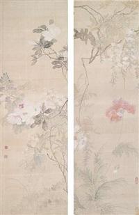 rosen und malven/malven unter glyzine by tang shishu