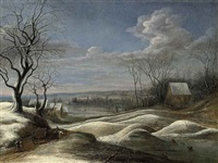 a winter landscape with travellers on a path and figures skating on a frozen lake beyond by daniel van heil