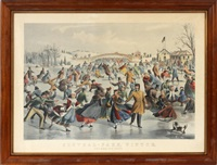 central-park, winter. the skating pond by currier & ives (publishers)