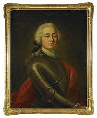 porträtt av fältmarskalken greve augustin ehrensvärd iklädd rustning och röd mantel by olof arenius