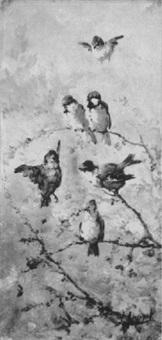 singvögel auf blühenden zweigen by eugène appert