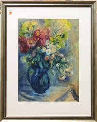 bouquet in blue pitcher by georges (karpeles) kars