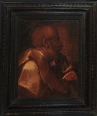 profil-bildnis eines heiligen mit stab by sir anthony van dyck