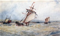 shipping at sea (+ in harbor; pair) by frederick james aldridge