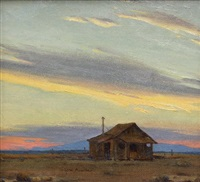 miner's cabin at sunset by clyde forsythe
