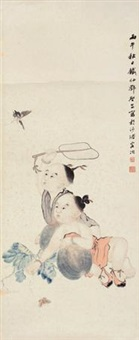 婴戏扑蝶 by deng tiexian