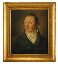 porträtt av grosshandlaren heinrich gottlieb peters klädd i grön rock och vit väst, bröstbild by per krafft the younger