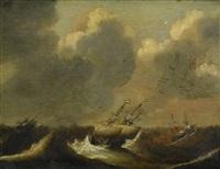 stormigt hav med holländska skepp by cornelis claesz van wieringen