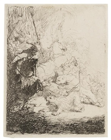 the small lion hunt by rembrandt van rijn