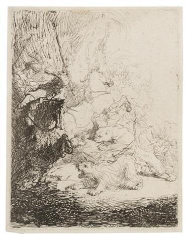 the small lion hunt by rembrandt van rijn