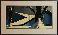 snow topped blue barn by eyvind earle