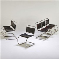 mr chairs (set of 6) by ludwig mies van der rohe