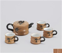 巧色上竹段茶具 (teapot set with decoration of bamboo) (set of 5) by wu yungen