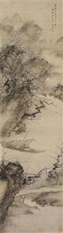 循溪探梅图 (landscape and character) by zhou chen