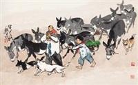 放驴图 (herding donkeys) by liu xingquan