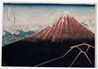 mt fuji above lighting by katsushika hokusai