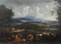 hirtin mit ihren tieren in italienischer landschaft by nicolaes berchem