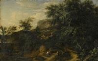 landskap med figurer by jacob de heusch
