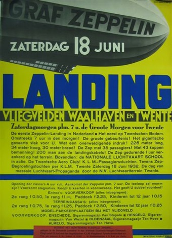 graf zeppelin 18 juni landing vliegvelden waalhaven en twente poster by kees van der laan