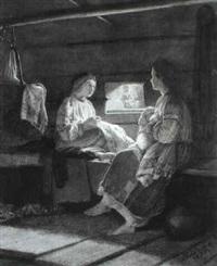 bauerliches interieur mit zwei jungen frauen by mikhail petrovich (baron) klodt von jurgensburg
