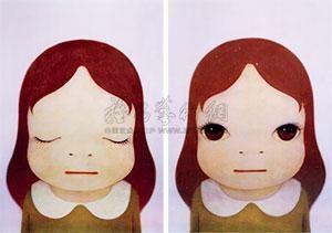 宇宙女孩(闭眼 睁眼) (两件一组) girl in the universe 2 works by yoshitomo nara