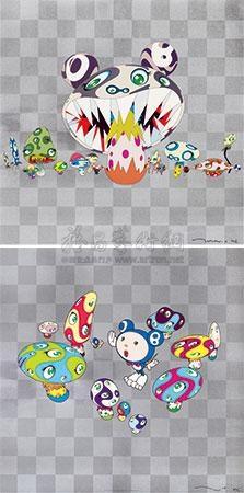 (两件一组) (n cha! ; here comes media) (2 works) by takashi murakami