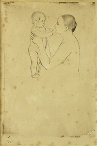 mother marie dressing her baby after its bath by mary cassatt