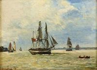 bateaux sortant du port de honfleur by johan barthold jongkind